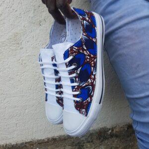basket en wax motif plumes bleues