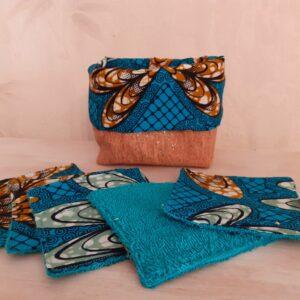 panière lingettes bleu turquoise wax liège