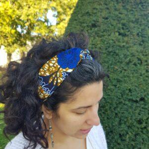 bandeau croise wax fleurs bleu