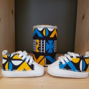 basket bebe wax kente jaune bleu