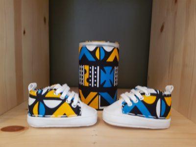 basket bebe wax kente jaune bleu