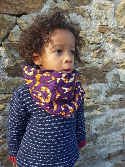 snood enfant wax mixte étoiles violettes