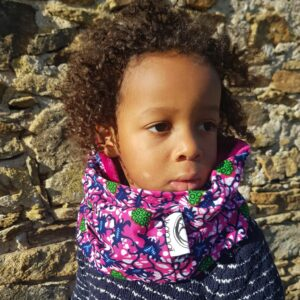 snood enfant wax rose fleuri fille